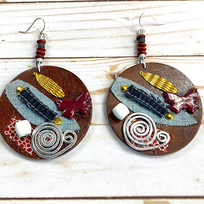Abstract Sauce Wood Earrings