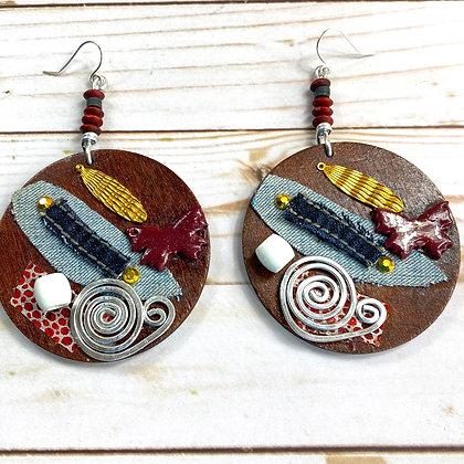 Abstract Sauce Wood Earrings
