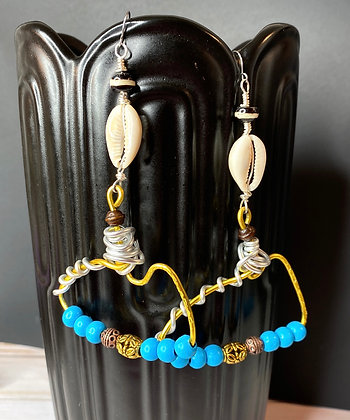 Artsy Angle beaded shell Earrings