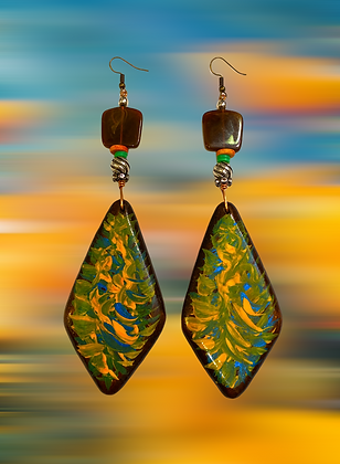 Hand Painted Marbled Colored Wood Style Fashion Earrings