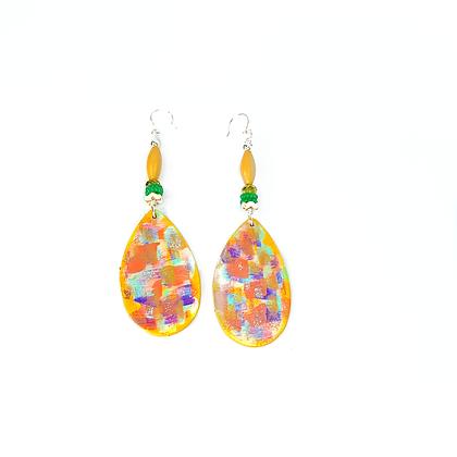 Unique wooden Georgian peach sweet dangle light earrings