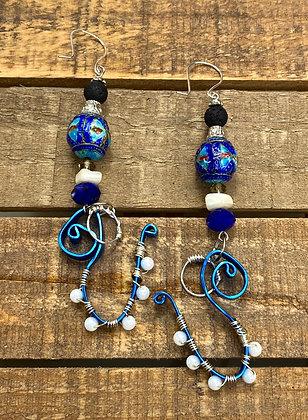 Wiggle Blue Wire Earrings