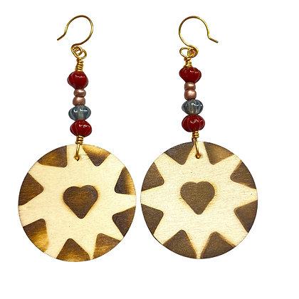 Heart Throb Fadhion Smoked Wood Earrings