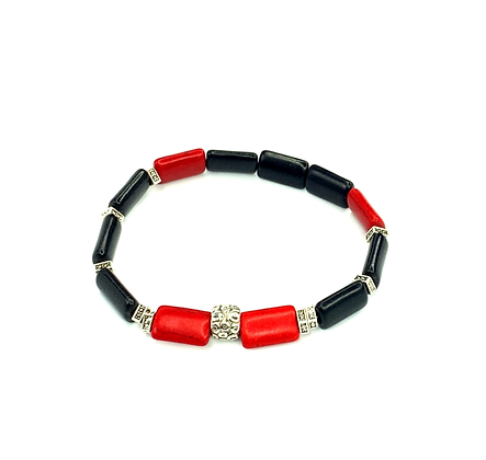 Hot red black link smooth wrist ready style bracelet