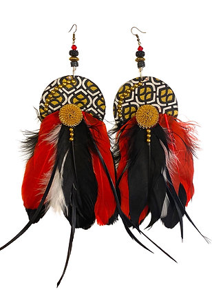 Fluffy Red Black White and Gold Feather Earrings