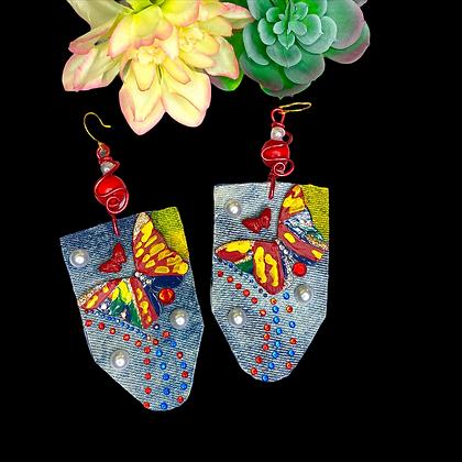 Butterfly Denim Art Dangle Earrings