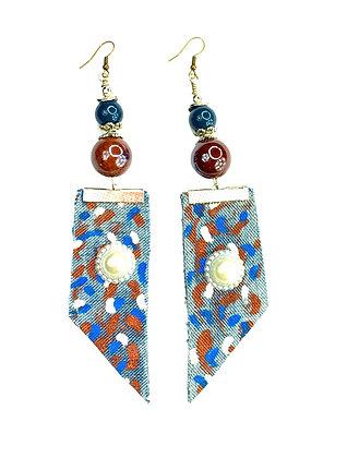 Denim Dancing Pearl Earrings