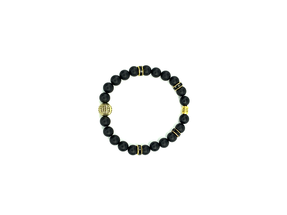 Black and gold accent beaded style bracele