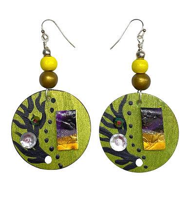 Silky Metallic Boho GreenWood Dangle Earrings