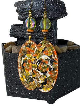 Scrambled Orange  Cha Cha Wood Earrings