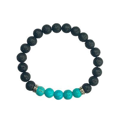 Turquoise And Black Lava Bead Bracelet