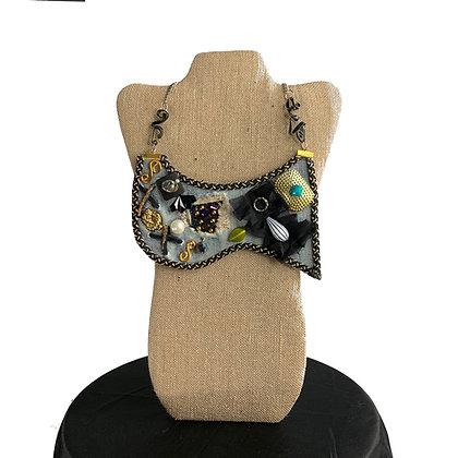 Around the world Art Deco wired denim chic necklace