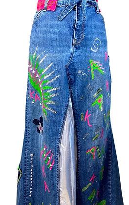 AKA Ladies Boho Denim Shine Skirt