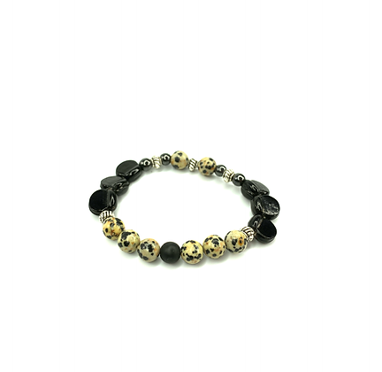 Speckled me black trend stone n glass bracelet