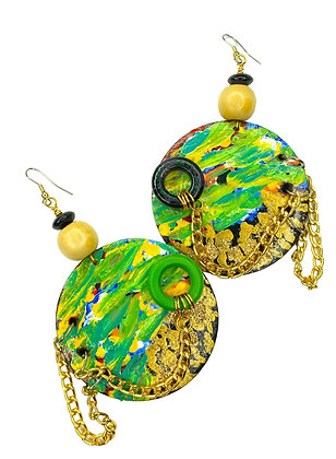 Chain Slayed Electric Handmade Earrings