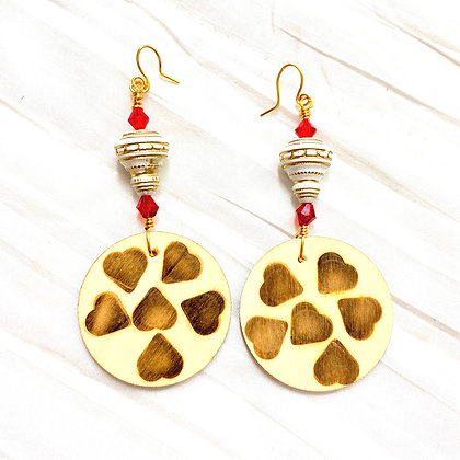 Dangle Heart  Wooden Art Earrings