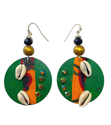 Green Cowrie and Orange Shell Wooden Earrings