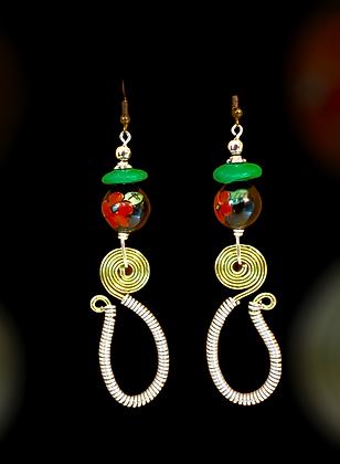 Pretty Hook Look Rose Glass Beaded Earrings