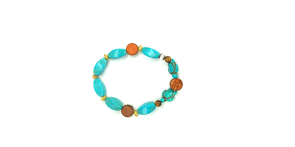 Turquoise turtle  brown beaded accent slip on bracelet