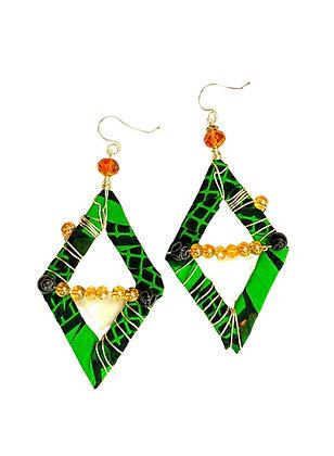Green Tribal Cross Over Earrings