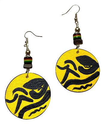 Black And Yellow Boho Blast Wood Dangle Earrings