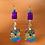 Thumbnail: Purple Linked Leather Fashion Style Earrings