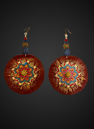 Cranberry Leather Floral Style Fashion Dangle Earrings