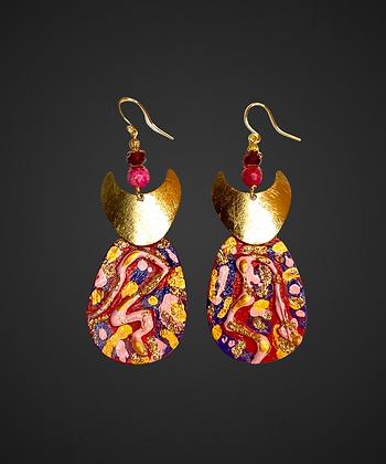 Vibrant Abstract Maze Art Handmade Earrings