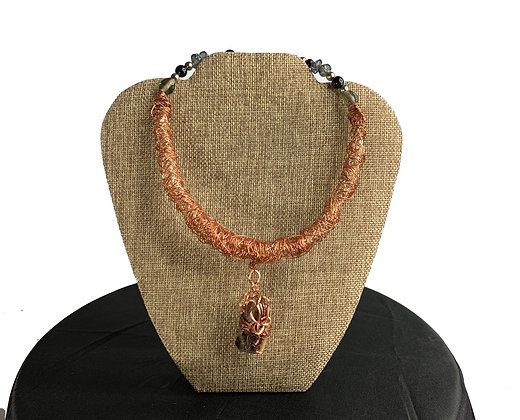 Round happy copper coil gemstone fab necklace