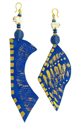 Cobolt Suede Blue Up Down Bold Earrings