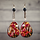 Thumbnail: Burgundy Pearl Lady Fashion Dangle Wood Earrings