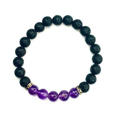 Black And Purple Lava beaded Bracelet