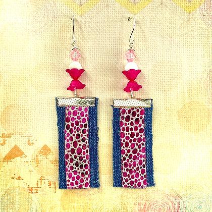 Panther Pink Denim Earrings