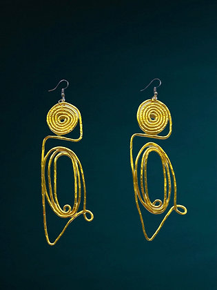 Gold Wired Coiled Dangle Fashion Style Earrings