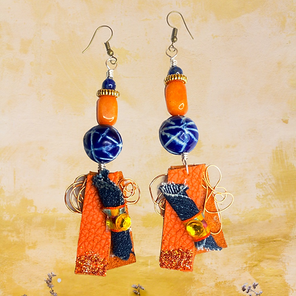 Abstract Orange Leather Wired Fashion Earrings