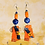 Thumbnail: Abstract Orange Leather Wired Fashion Earrings
