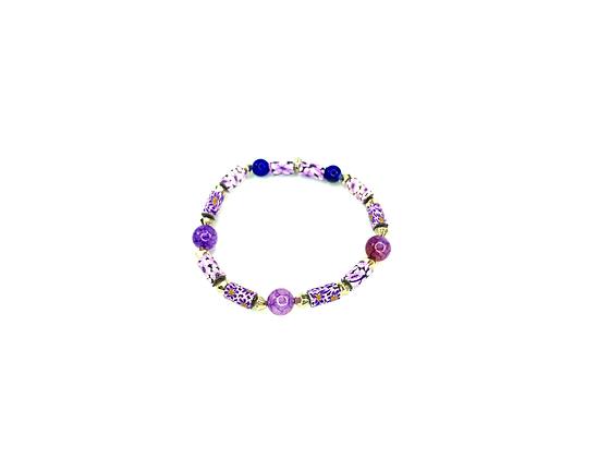 Passion around purple polymer beaded fashion style bracelet