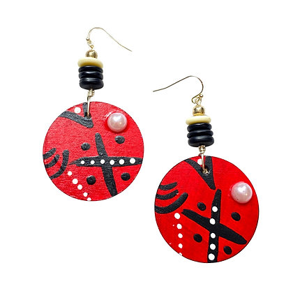 Dangle Red  Wood Earrings