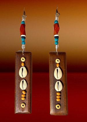 Natural Wood Shell Dangle Wood Earrings