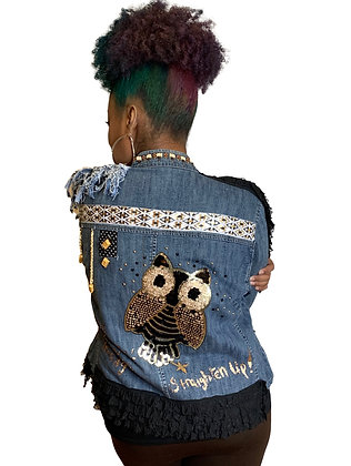 Fringe 2 Sided Owl Denim Jacket