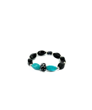 Town of turquoise and black boho style bracelet