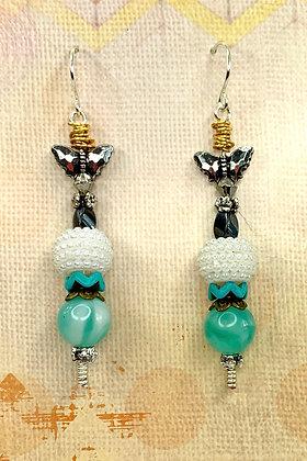 Butterfly Pearl Jeweled Earrings