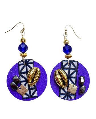 Purple Artist Blue Bead Wooden  Dangle Earrings