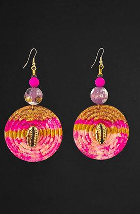 Bright Hot Pink Boho Wooden Earrings