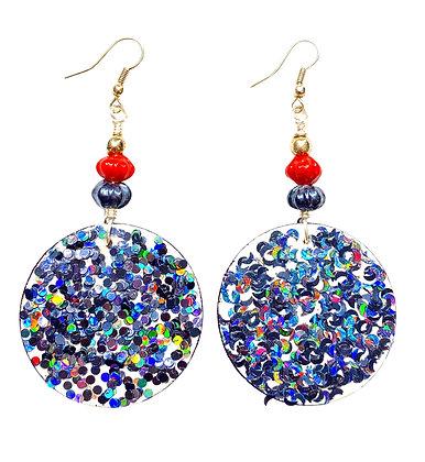 Charcoal Gray Blue Shimmer  Dangle Wood Earrings