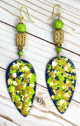 Happy Wood Dangle Earrings