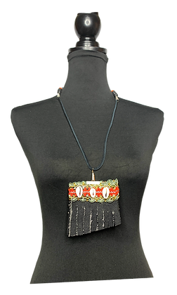 Denim  Fringe Drive Necklace