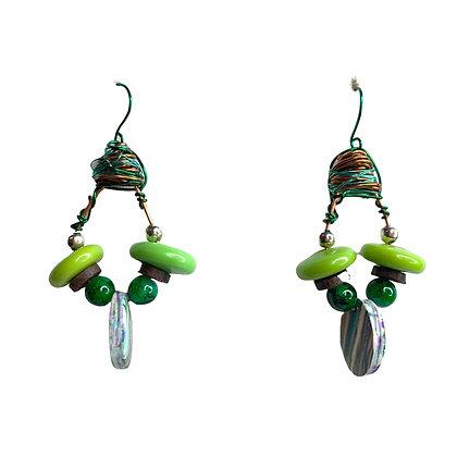 Kiwi  Sliced Wire Earrings