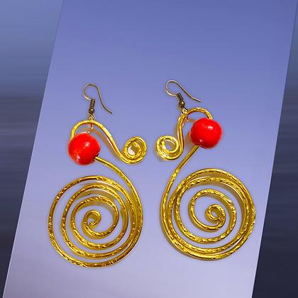 Swirl Golden Wire Red Beaded Fashion Earrings