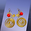 Thumbnail: Swirl Golden Wire Red Beaded Fashion Earrings